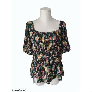 Addition Elle Floral printed off shoulder blouse
